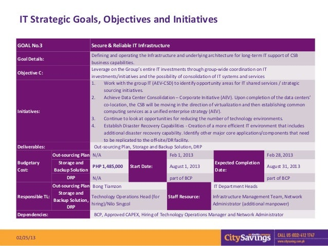 IT Strategic Goals, Objectives and InitiativesGOAL No.3                        Secure & Reliable IT Infrastructure        ...