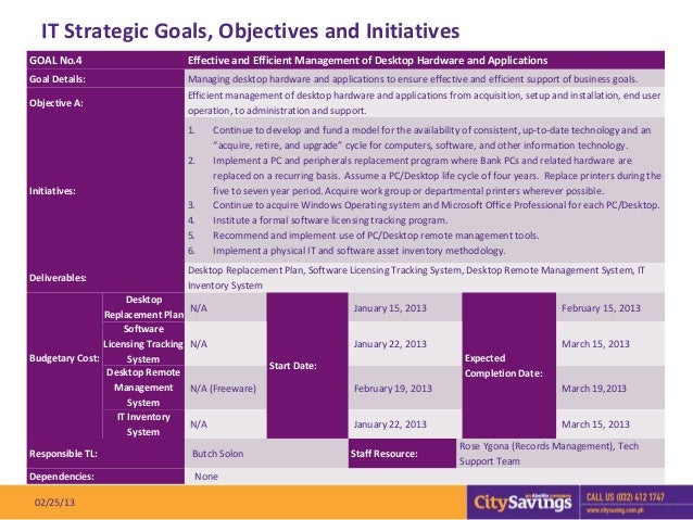 IT Strategic Goals, Objectives and InitiativesGOAL No.4                            Effective and Efficient Management of D...