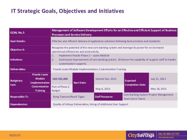 IT Strategic Goals, Objectives and Initiatives                                  Management of Software Development Efforts...