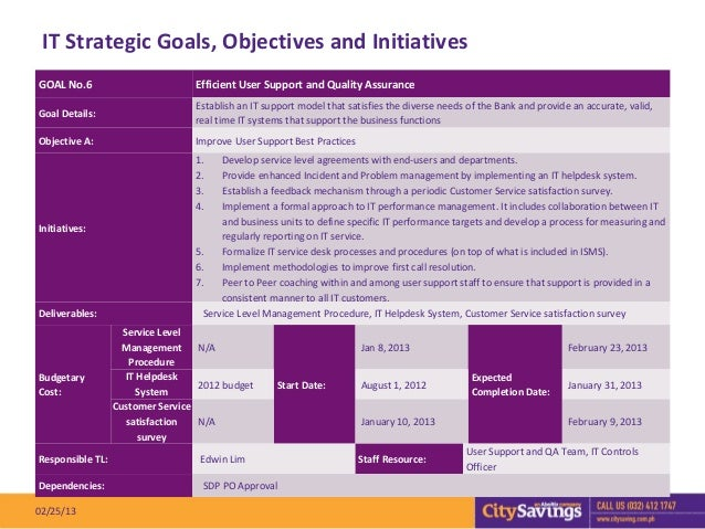 IT Strategic Goals, Objectives and InitiativesGOAL No.6                         Efficient User Support and Quality Assuran...