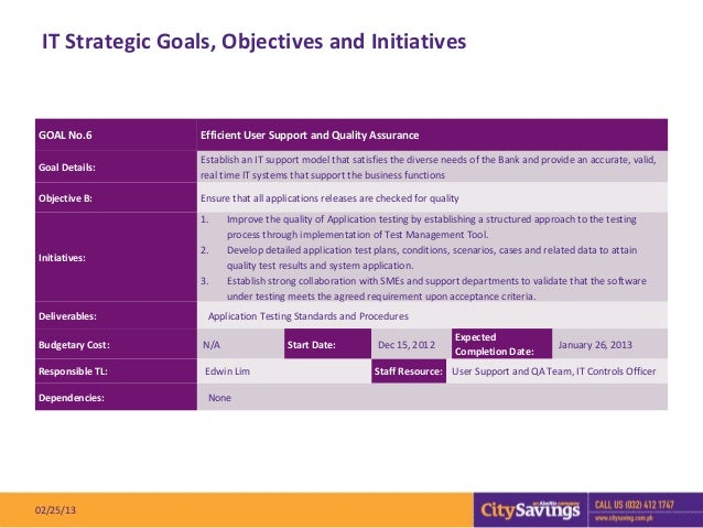 IT Strategic Goals, Objectives and InitiativesGOAL No.6         Efficient User Support and Quality Assurance              ...