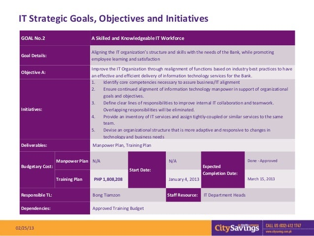 IT Strategic Goals, Objectives and Initiatives  GOAL No.2                         A Skilled and Knowledgeable IT Workforce...