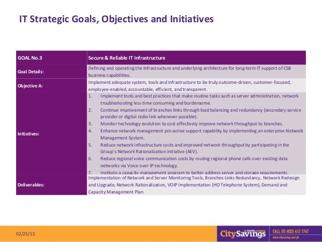 IT Strategic Goals, Objectives and InitiativesGOAL No.3        Secure & Reliable IT Infrastructure                 Definin...