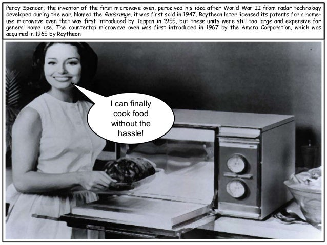 invention of the microwave oven A microwave oven (also commonly  the invention of the cavity magnetron made possible the production of electromagnetic waves of a small enough wavelength .