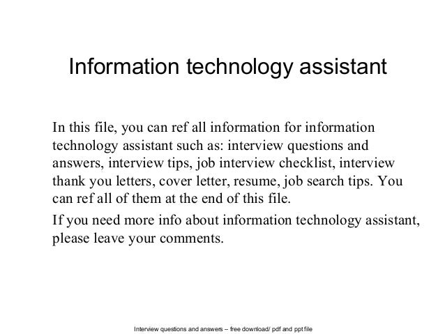 Wonderful Interview Questions And Answers U2013 Free Download/ Pdf And Ppt File Information  Technology Assistant In ...