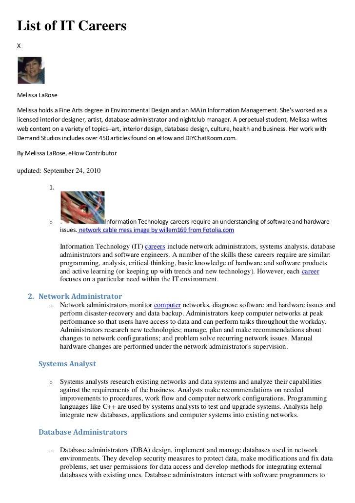 Information Technology Career List
