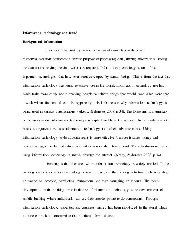 Information technology introduction essay outline