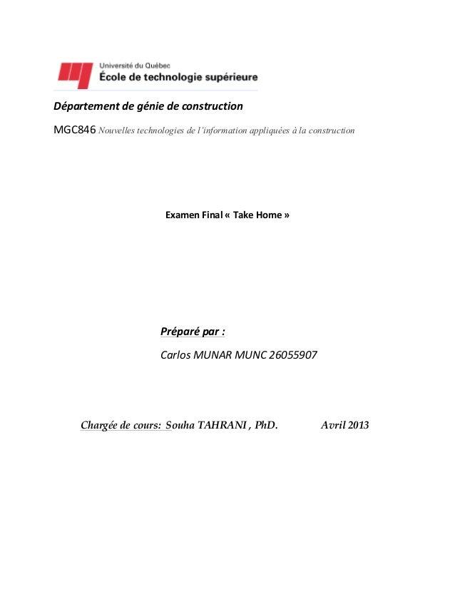 Département  de  génie  de  construction   MGC846  Nouvelles technologies de l'information appli...