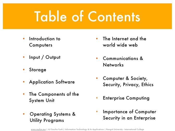 Table of Contents• Introduction to                                                     • The Internet and the  Computers  ...