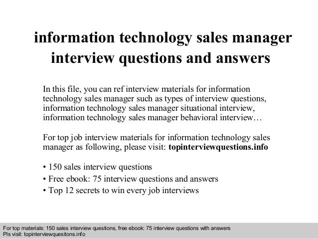 interview questions and answers free download pdf and ppt file information technology sales manager - Sales Manager Interview Questions Sales Job Interview