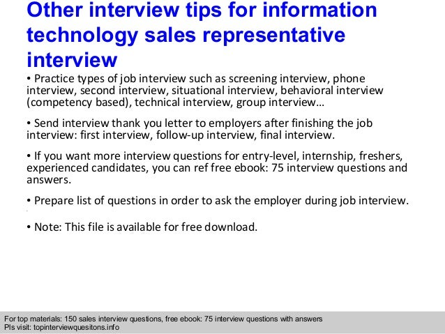 information technology sales representative interview
