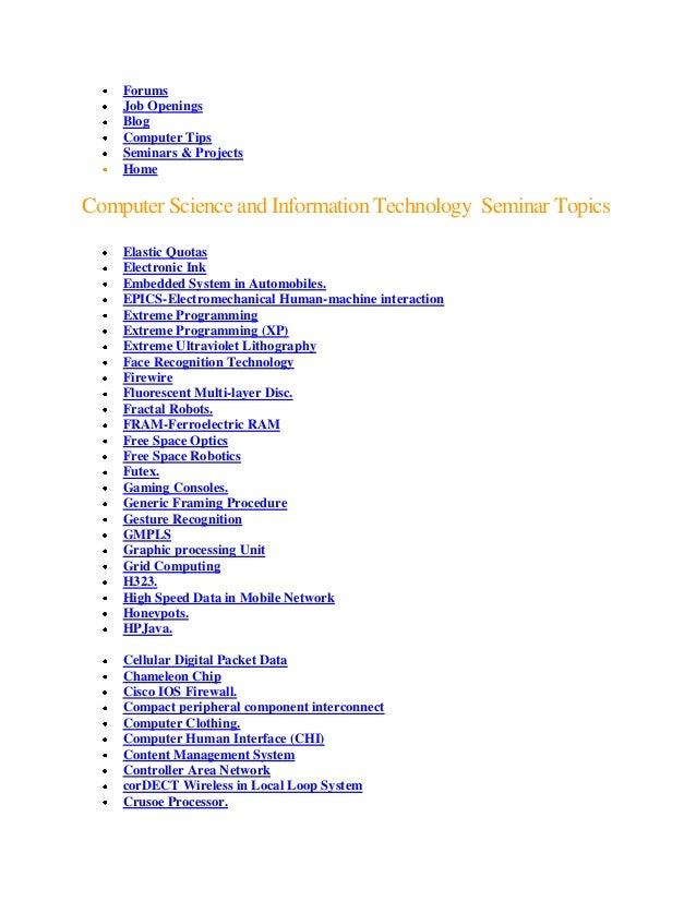 Technical paper presentation topics for cse on text.