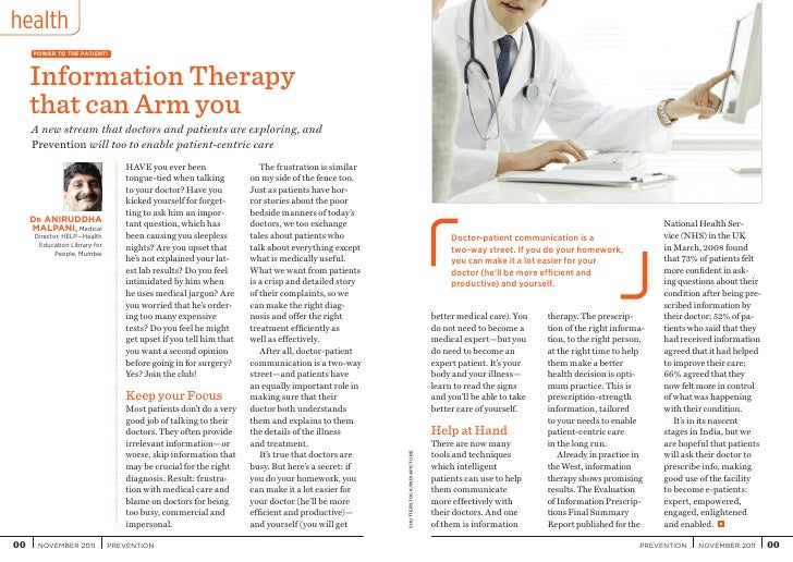 health     POWER TO THE PATIENT!     Information Therapy     that can Arm you     A new stream that doctors and patients a...