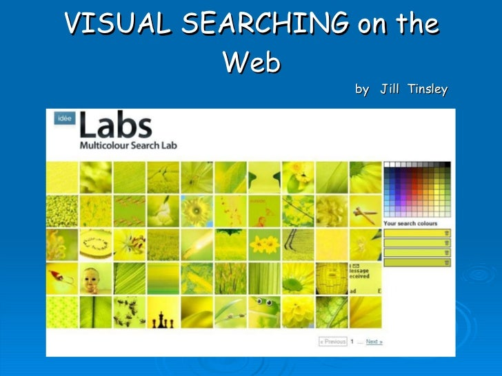 VISUAL SEARCHING on the Web by  Jill  Tinsley