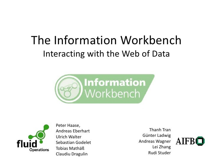The Information Workbench Interacting with the Web of Data    Peter Haase,    Andreas Eberhart          Thanh Tran    Ulri...