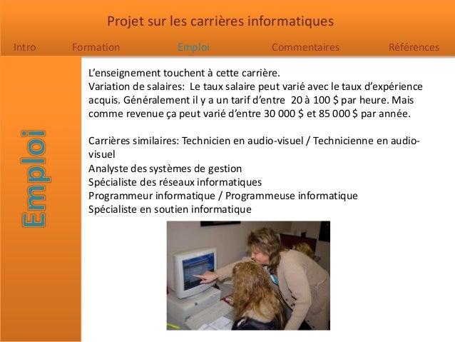 Carrières de l'Informatique Slide 3