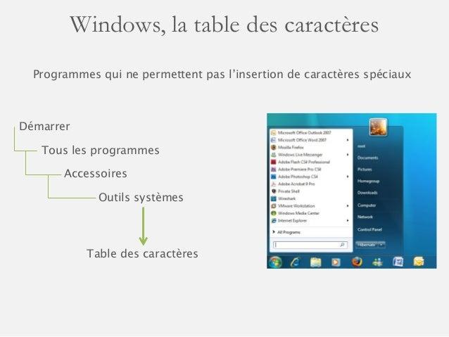 Utiliser des caract res sp ciaux dans ces documents - Table des caracteres windows ...