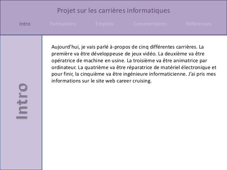 Informatique (carrières) Slide 2
