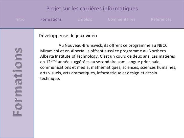 Informatique (carrières) Slide 3