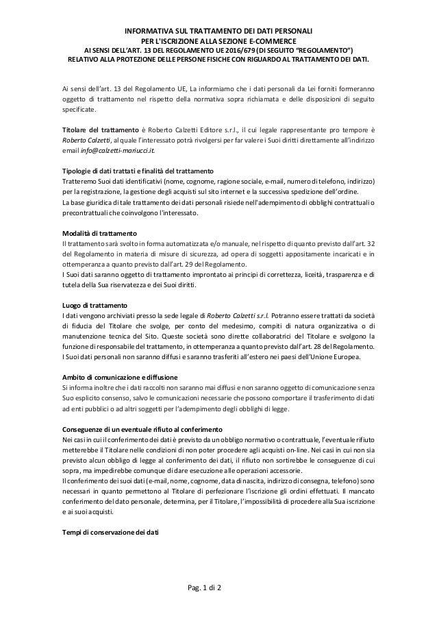 INFORMATIVASULTRATTAMENTODEIDATIPERSONALI PERL'ISCRIZIONEALLASEZIONEE‐COMMERCE AISENSIDELL'ART.13DELREGOL...
