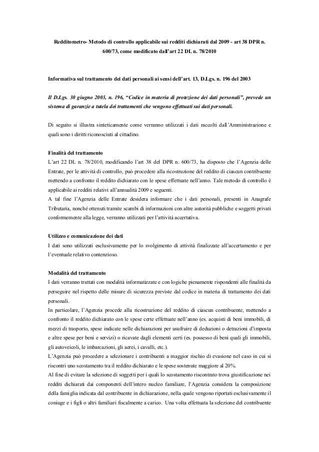 Redditometro- Metodo di controllo applicabile sui redditi dichiarati dal 2009 - art 38 DPR n. 600/73, come modificato dall...