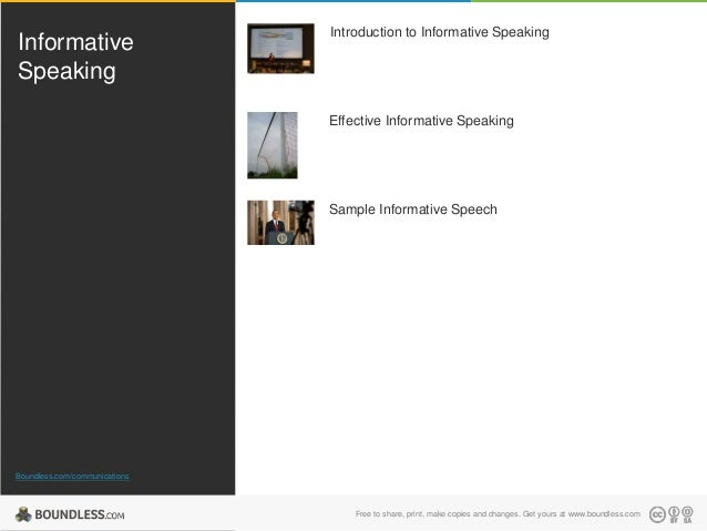 Informative Speaking  Introduction to Informative Speaking  Effective Informative Speaking  Sample Informative Speech  Bou...