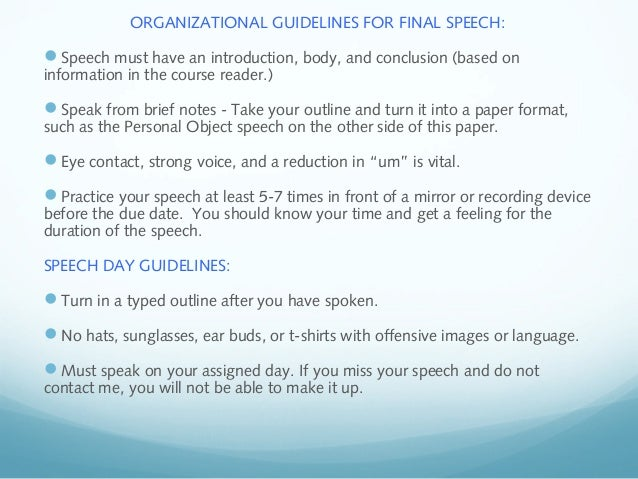 informative speech guidelines 1 Guidelines for public speaking the purpose of any informative speech or presentation is to facilitate the following guidelines in mind when doing so 1.