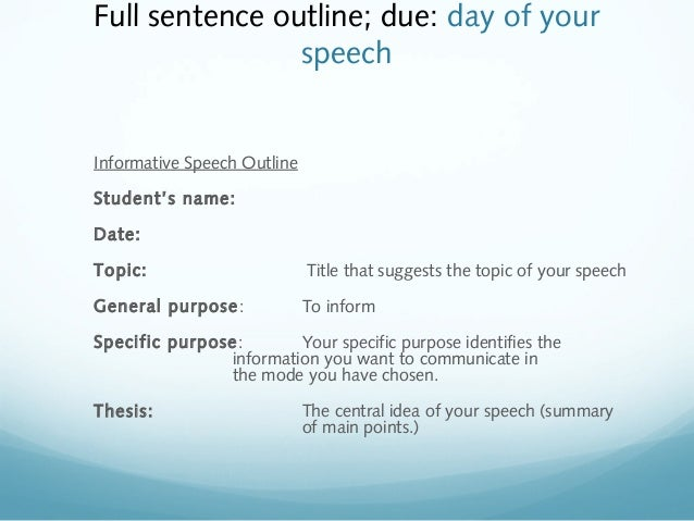 informative speech on dating Speech outline (informative & persuasive speeches) (10% - 20 marks) instructions: submit the outline during the presentation day type using font.