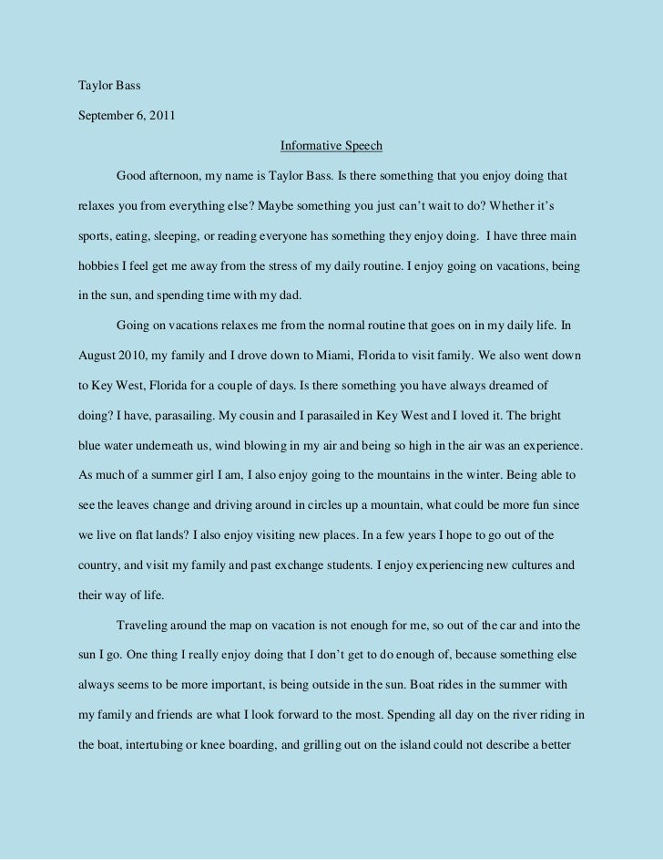 Example Of Essay Speech Example Of Informative Essay World