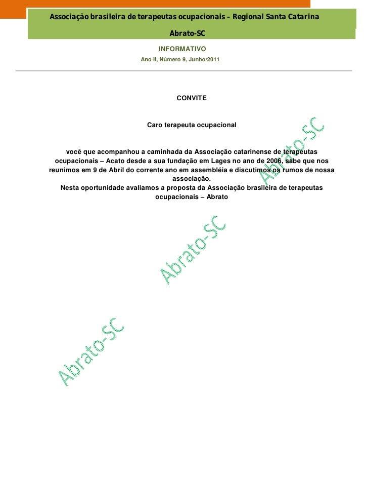 Associação brasileira de terapeutas ocupacionais – Regional Santa Catarina                                    Abrato-SC   ...