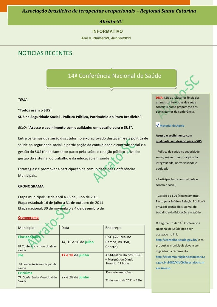 Associação brasileira de terapeutas ocupacionais – Regional Santa Catarina                                                ...