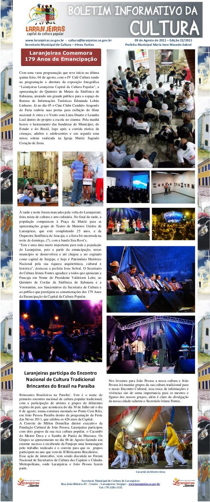 www.laranjeiras.se.gov.br - cultura@laranjeiras.se.gov.br                            09 de Agosto de 2011 – Edição 22/2011...