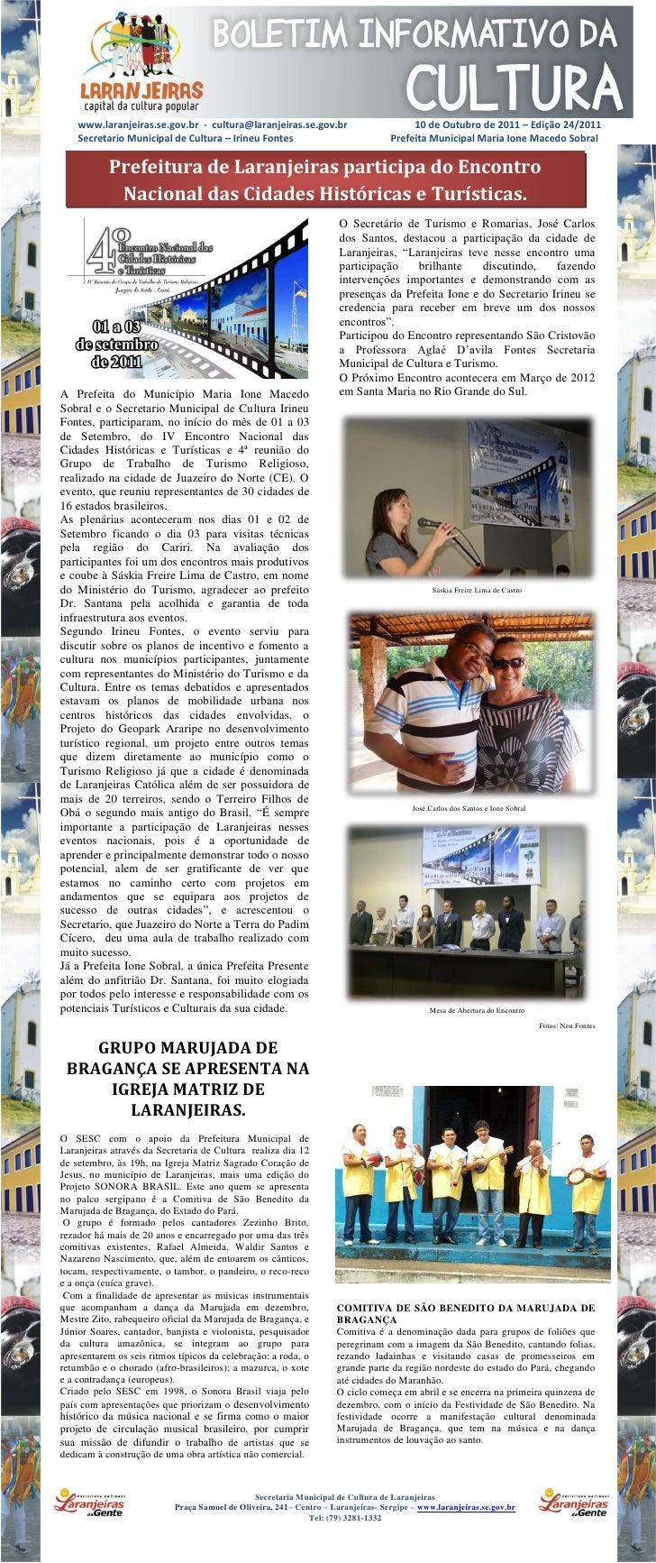 www.laranjeiras.se.gov.br - cultura@laranjeiras.se.gov.br                          10 de Outubro de 2011 – Edição 24/2011 ...