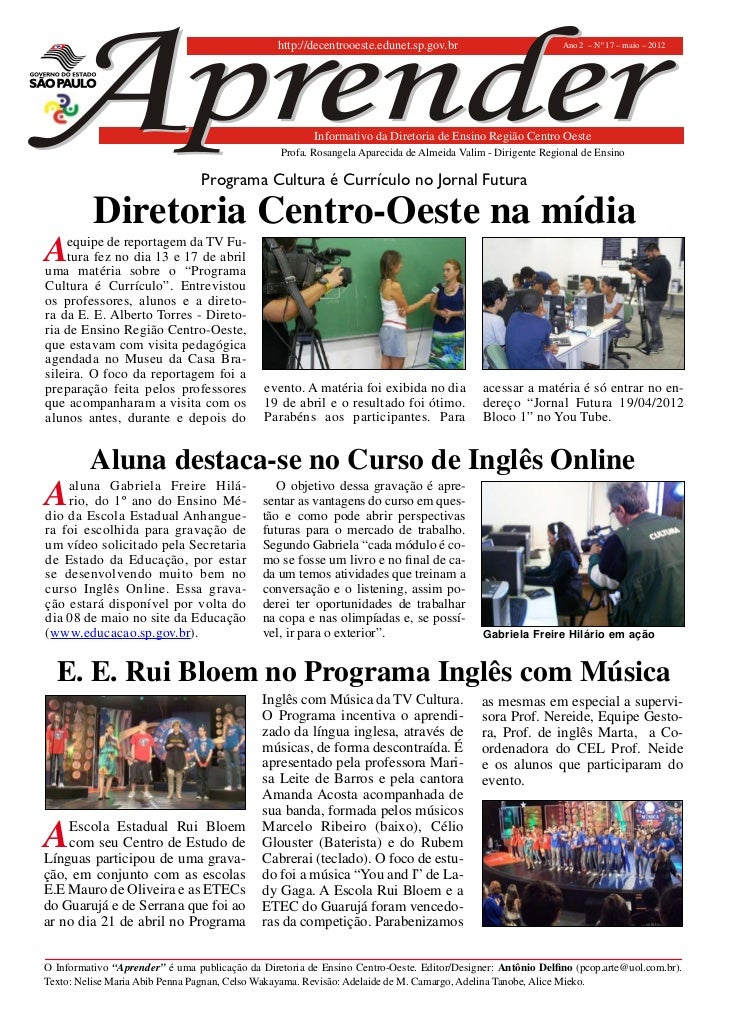 http://decentrooeste.edunet.sp.gov.br                       Ano 2 – Nº 17 – maio – 2012                                   ...