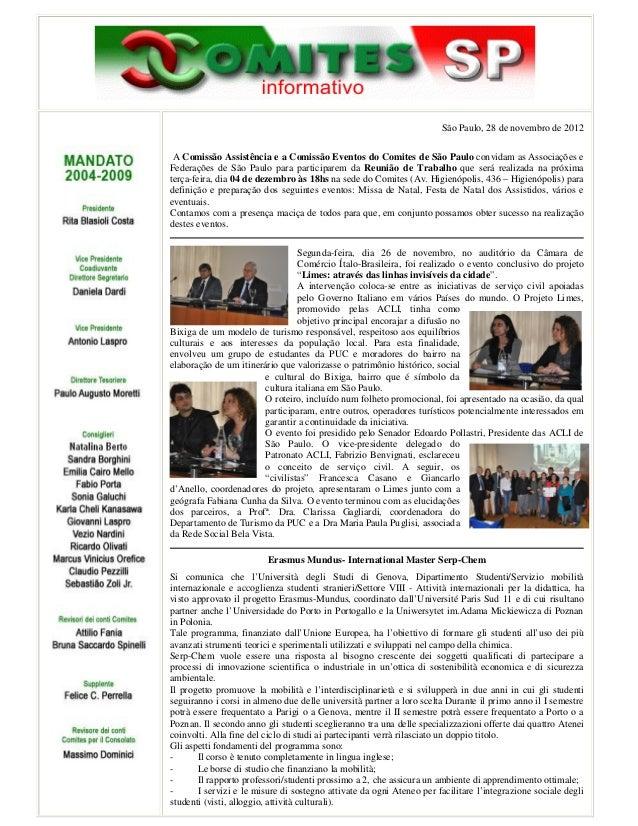 São Paulo, 28 de novembro de 2012 A Comissão Assistência e a Comissão Eventos do Comites de São Paulo convidam as Associaç...