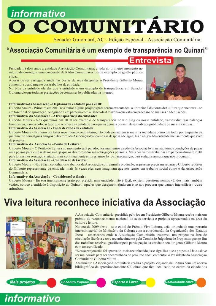 informativo O COMUNITÁRI0                   Senador Guiomard, AC - Edição Especial - Associação Comunitária  ''Associação ...