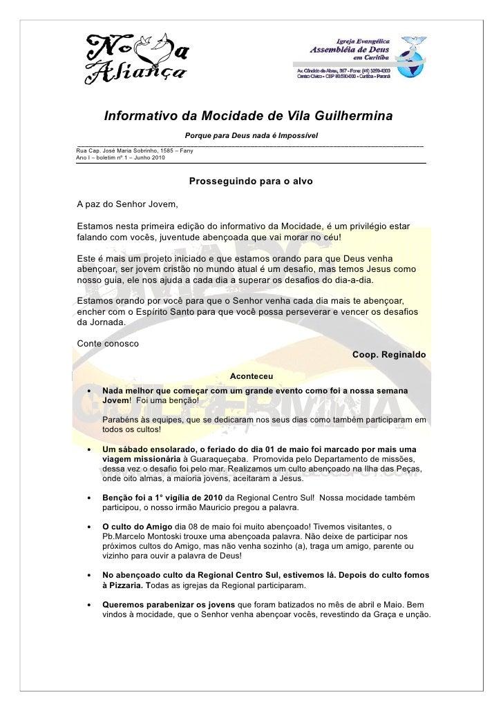 Informativo da Mocidade de Vila Guilhermina                                       Porque para Deus nada é Impossível _____...