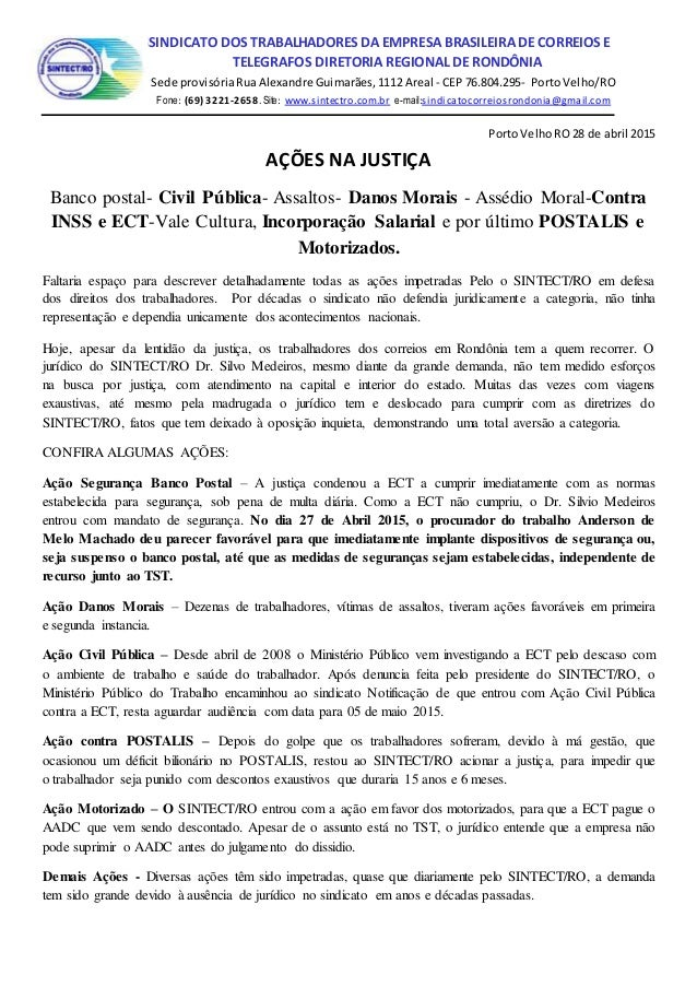 SSINDICATO DOS TRABALHADORES DA EMPRESA BRASILEIRA DE CORREIOS E TELÉGRAFOS TELEGRAFOS DIRETORIA REGIONAL DE RONDÔNIA Sede...