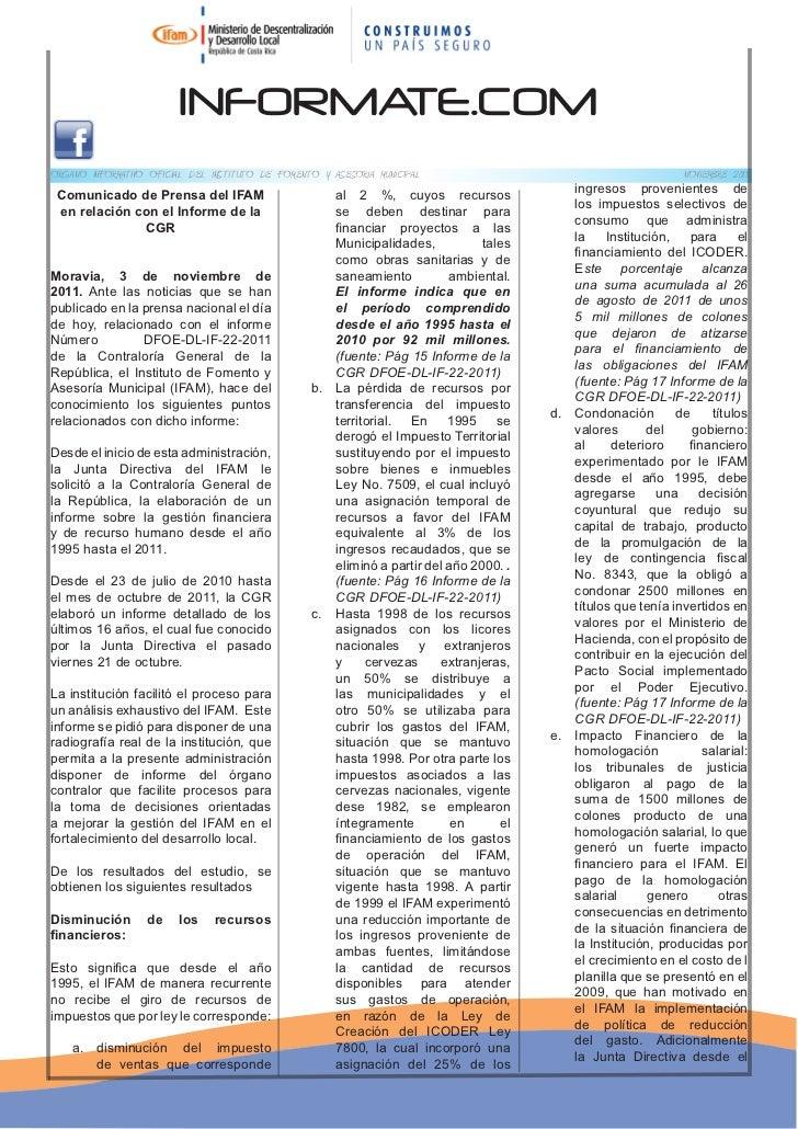 INFORMATE.COMORGANO INFORMATIVO OFICIAL DEL INSTITUTO DE FOMENTO Y ASESORIA MUNICIPAL                                     ...
