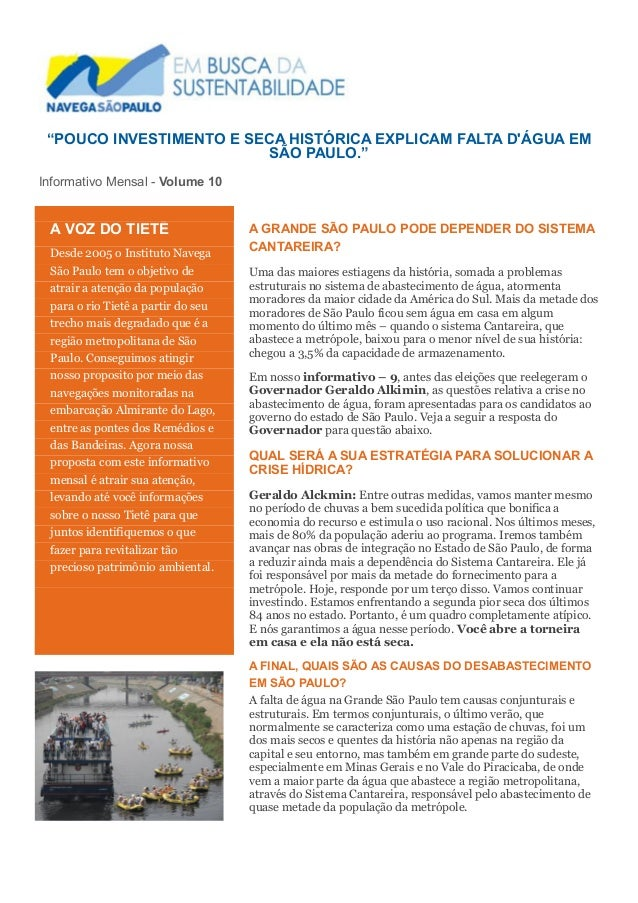"""""""POUCO INVESTIMENTO E SECA HISTÓRICA EXPLICAM FALTA D'ÁGUA EM SÃO PAULO.""""  Informativo Mensal - Volume 10  A GRANDE SÃO PA..."""