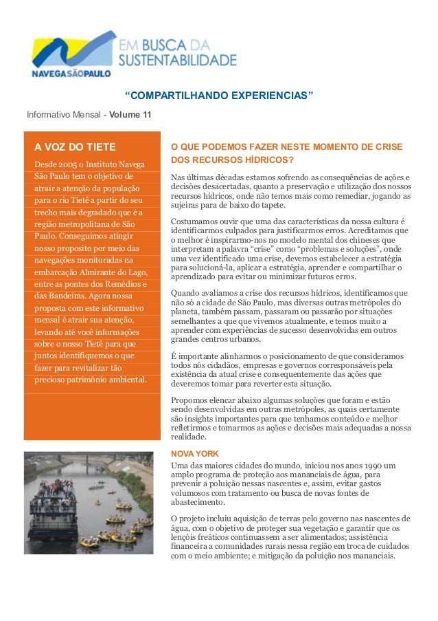 """COMPARTILHANDO EXPERIENCIAS""  Informativo Mensal - Volume 11  O QUE PODEMOS FAZER NESTE MOMENTO DE CRISE DOS RECURSOS HÍD..."
