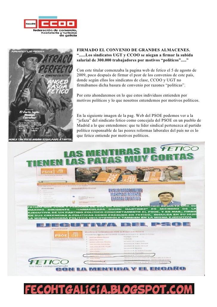 """FIRMADO EL CONVENIO DE GRANDES ALMACENES.""""......Los sindicatos UGT y CCOO se niegan a firmar la subidasalarial de 300.000 ..."""
