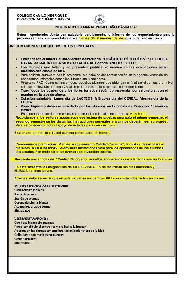 """COLEGIO CAMILO HENRÍQUEZ DIRECCIÓN ACADÉMICA BÁSICA INFORMATIVO SEMANAL PRIMER AÑO BÁSICO """"A"""" Señor Apoderado: Junto con s..."""