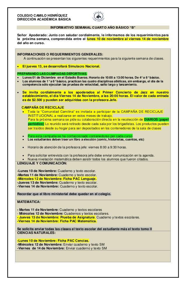 """COLEGIO CAMILO HENRÍQUEZ  DIRECCIÓN ACADÉMICA BÁSICA  INFORMATIVO SEMANAL CUARTO AÑO BÁSICO """"B""""  Señor Apoderado: Junto co..."""