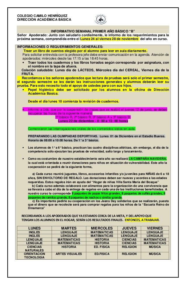 """COLEGIO CAMILO HENRÍQUEZ  DIRECCIÓN ACADÉMICA BÁSICA  INFORMATIVO SEMANAL PRIMER AÑO BÁSICO """"B""""  Señor Apoderado: Junto co..."""