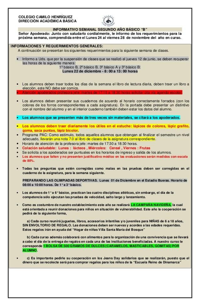 """COLEGIO CAMILO HENRÍQUEZ  DIRECCIÓN ACADÉMICA BÁSICA  INFORMATIVO SEMANAL SEGUNDO AÑO BÁSICO """"B""""  Señor Apoderado: Junto c..."""