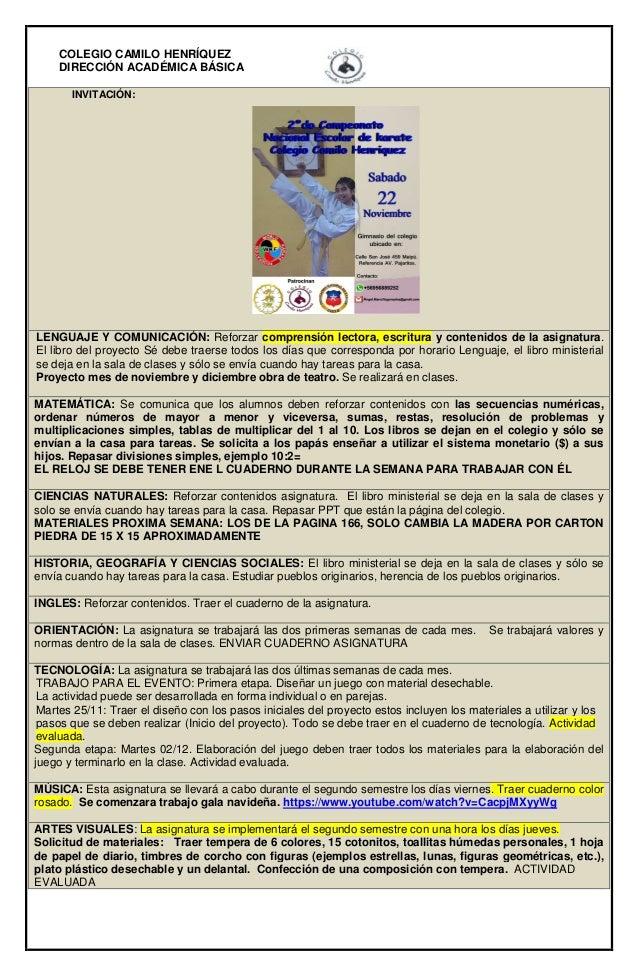 COLEGIO CAMILO HENRÍQUEZ  DIRECCIÓN ACADÉMICA BÁSICA  INVITACIÓN:  LENGUAJE Y COMUNICACIÓN: Reforzar comprensión lectora, ...