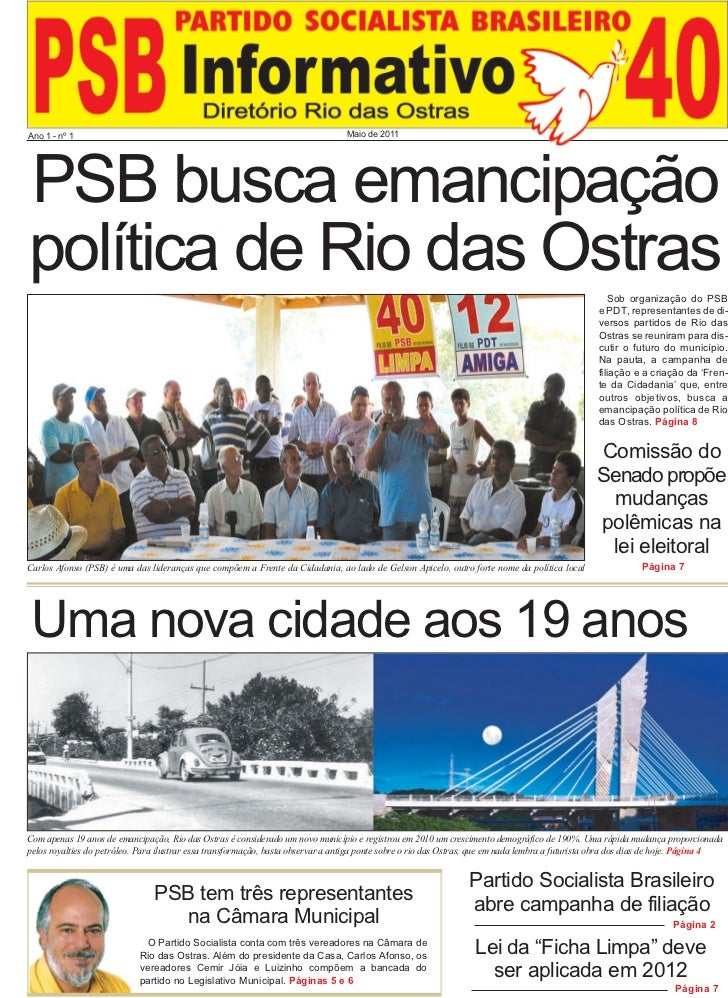 Ano 1 - nº 1                                                                      Maio de 2011PSB busca emancipaçãopolític...