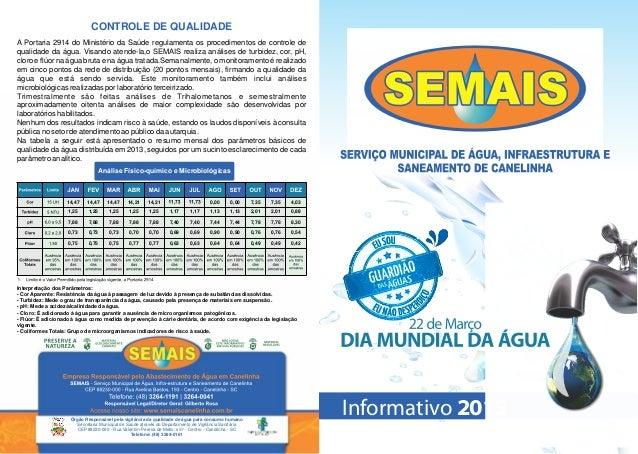 Órgão Responsável pela vigilância da qualidade de água para consumo humano Secretaria Municipal de Saúde através do Depart...