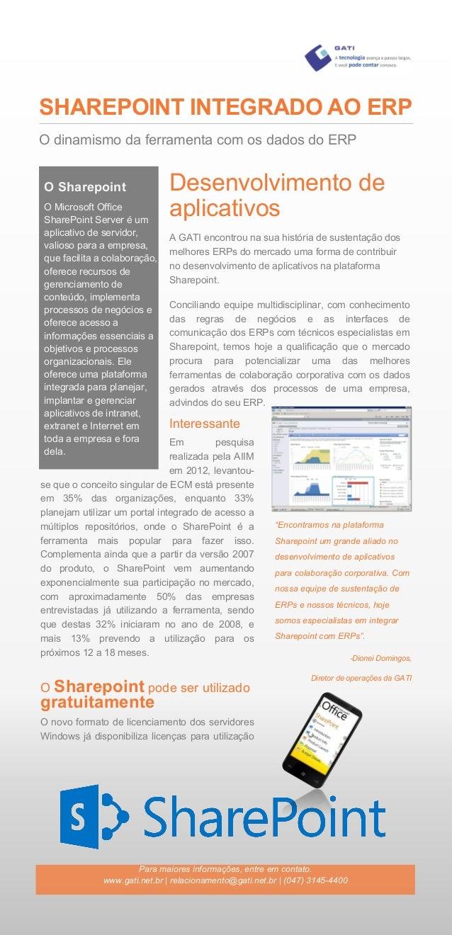 SHAREPOINT INTEGRADO AO ERP Interessante Em pesquisa realizada pela AIIM em 2012, levantou- se que o conceito singular de ...